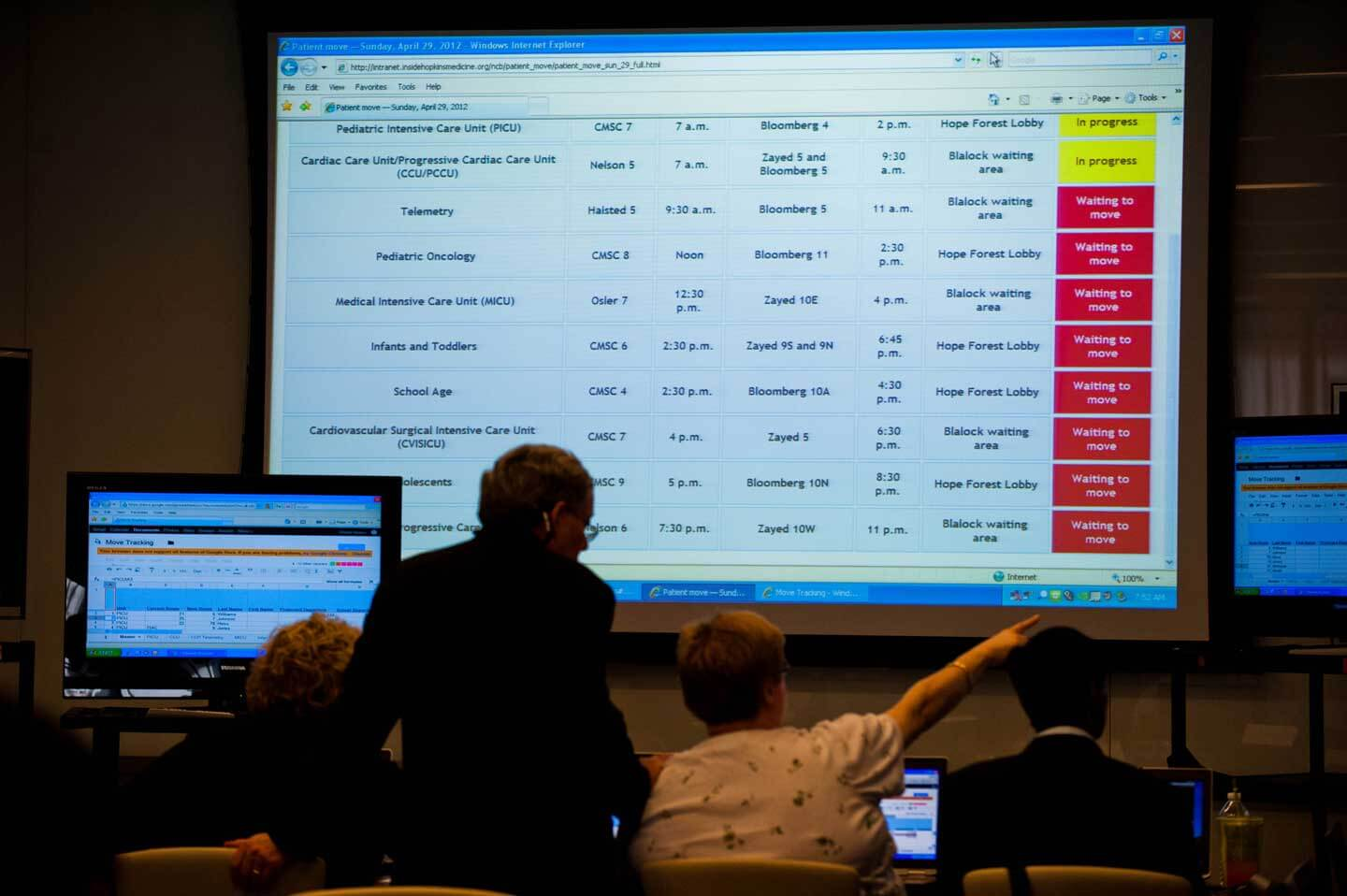 During the move, the command center team follows the progress of every unit on a giant      screen.