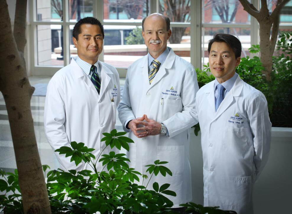 (from left to right) Dr. Phuoc Tran, Dr. Theodore DeWeese, and Dr. Danny Song all specialize in the treatment of prostate cancer.