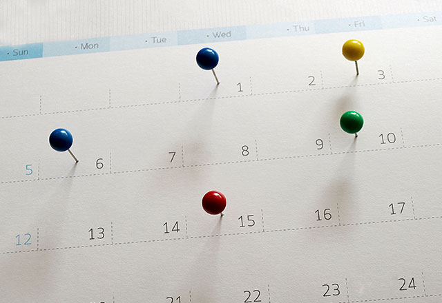 Calendar with pushpins.