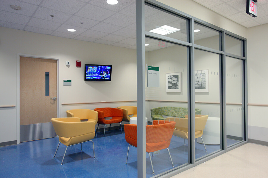 The Emergency Department's internal reception area offers patients' family members a place to relax.
