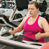 Jessica Sharkey on a leg lift machine at the gym