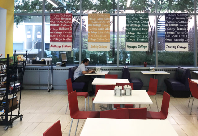 A student sits in the Wenz Cafe.
