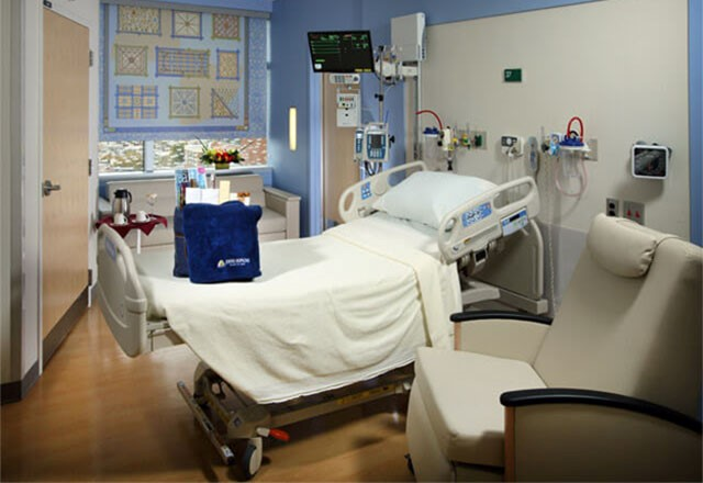 a private patient room at The Johns Hopkins Hospital, featuring a bed and window