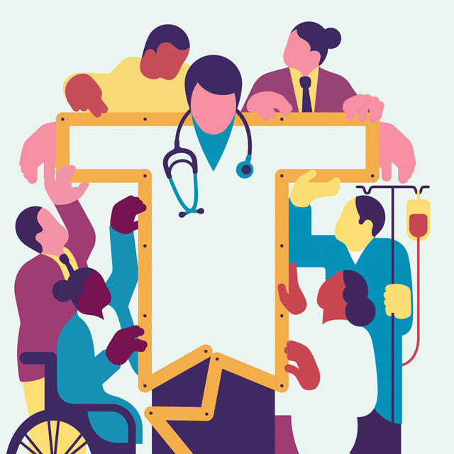 illustration of people surrounding doctor
