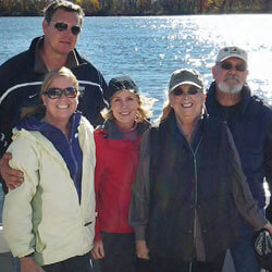 Jane Cloud enjoying a fishing trip with her family and friends