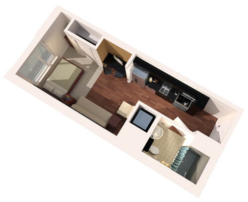 illustration of a sample floor plan for studio housing