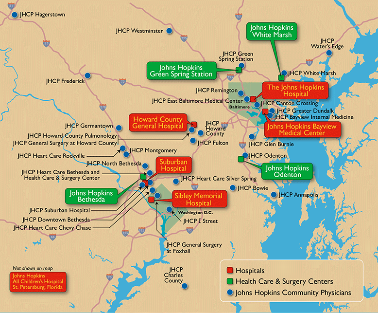 a map of Johns Hopkins locations in Maryland