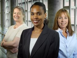 (From left) Elisabeth Glowatzki, Ebony Boulware and Lori Grover are among the first 40 participants in a course designed to help women faculty move into high-profile positions.