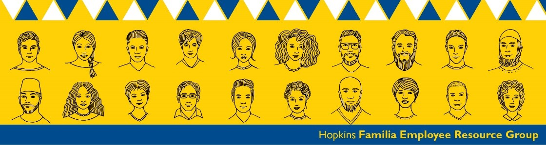 Illustrations of various diverse faces, representing the Hopkins Familia Employee Resource Group.