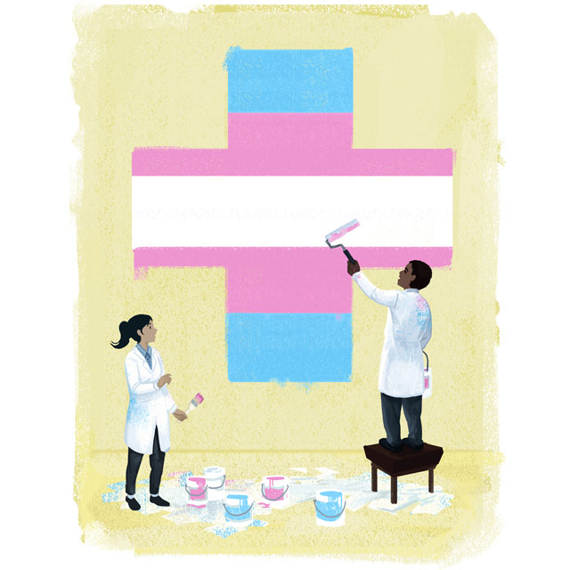 illustration of a transgender colored medical cross