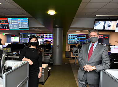 Anna Ye and Jim Scheulen at work in the Capacity Command Center at the Johns Hopkins Hospital.