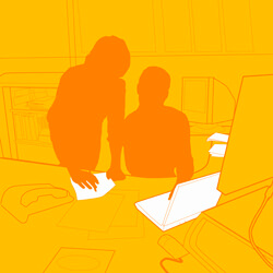 graphic of two people looking at a computer and a sheet of paper.