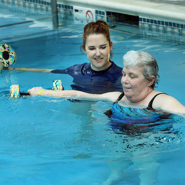A photo shows aquatic therapy.