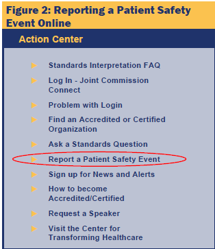 screenshot of Reporting a Patient Safety Event Online