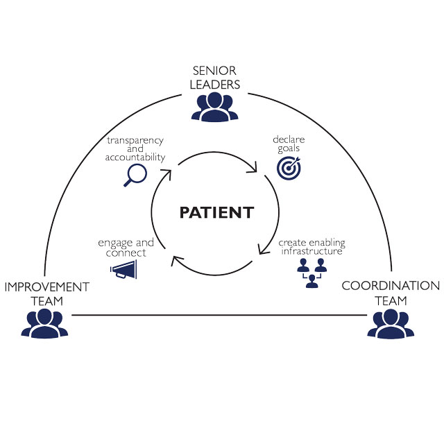 An illustration of the Enhanched Recovery After Surgery (ERAS) Pathway shows the connections between the patient, senior leaders, the improvement team and coordination team.