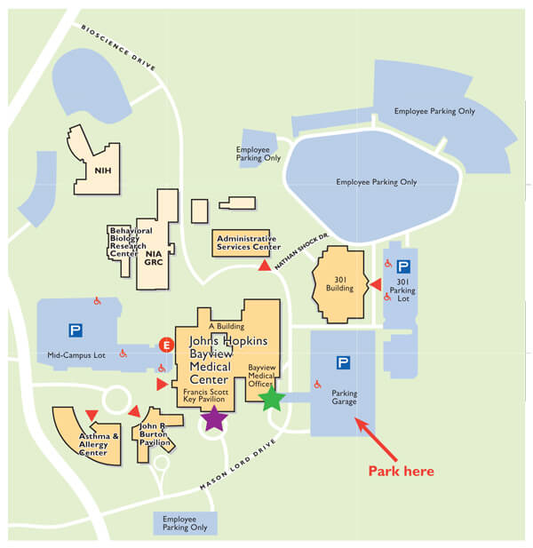 Campus map outlining temporary patient entrances