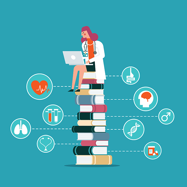 Illustration of a woman with her laptop sitting on a pile of books