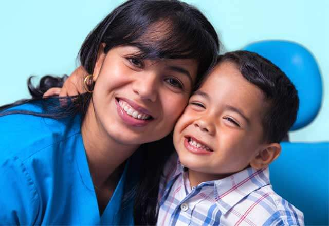 image of pediatric patient with nurse
