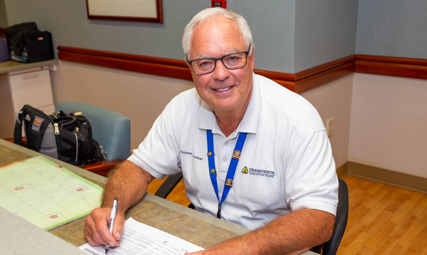 In addition to his twice-weekly volunteer shifts in the cardiac catheterization laboratory, Howard Gilson has also served on Suburban Hospital's Patient and Family Advisory Council.