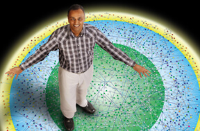 Pandey stands on a proteome map