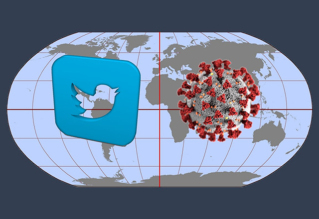 An image of the world, with the Twitter logo and a coronavirus superimposed on it.