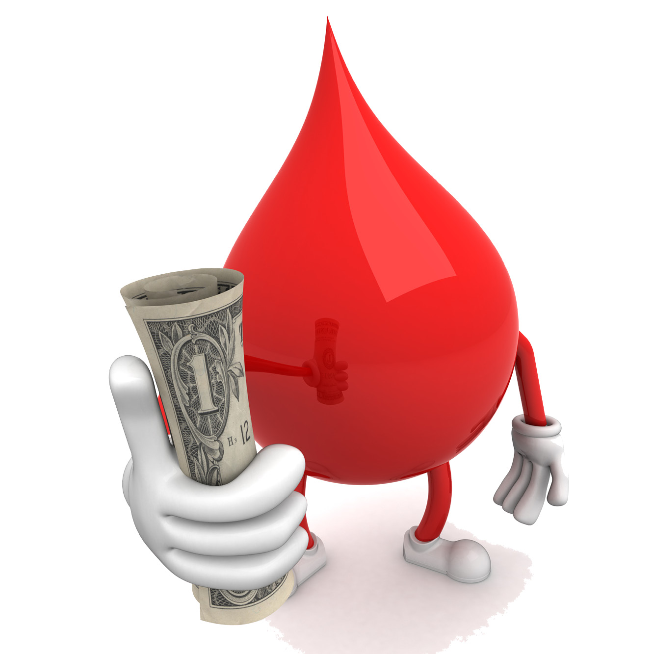 Image of a drop of blood holding a dollar bill