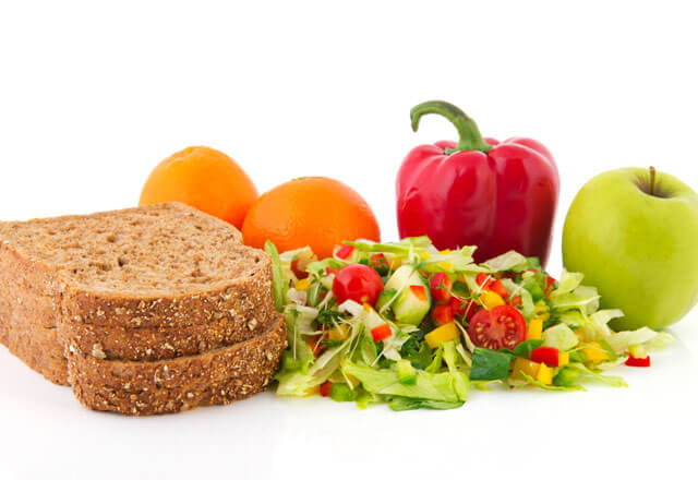 Bread, fruit and greens