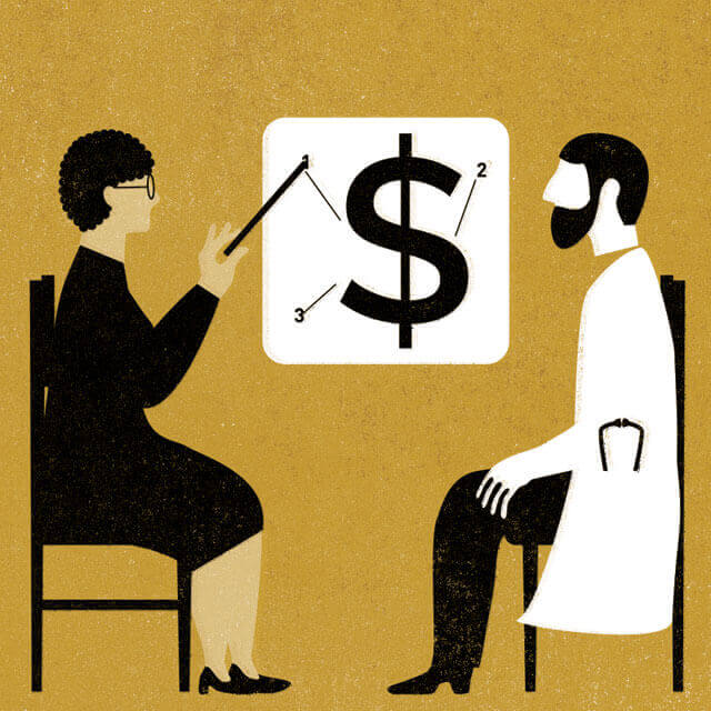 illustration of two people discussing money