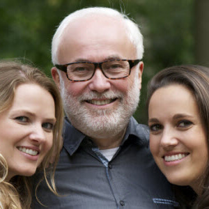 Father with two adult daughters