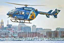 Lifeline helicopter flying over Baltimore.