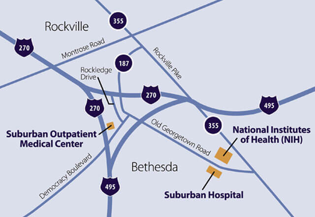 A map of Suburban Hospital in Bethesda, MD on Old Georgetown Road