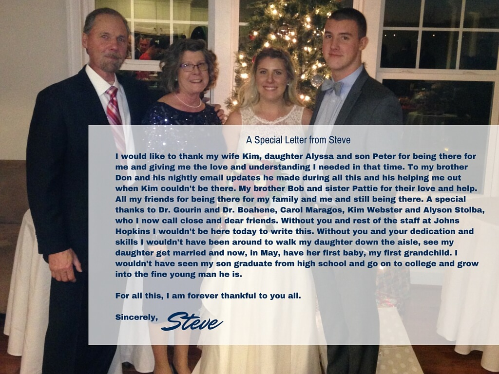 Steve with his family and a special thank you message
