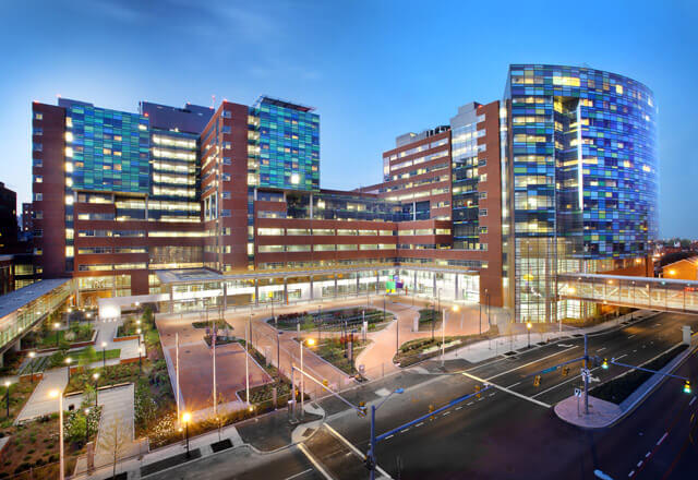 Photo of Hopkins Hospital state-of-the-art buildings.