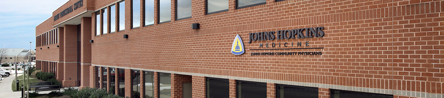 A close-up of the exterior of the JHCP building in Frederick.