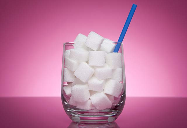 sugar cubes in a glass