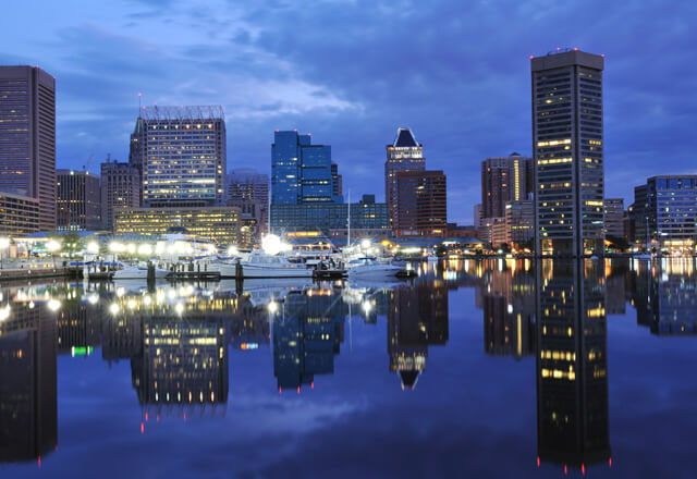 baltimore harbor in the evening