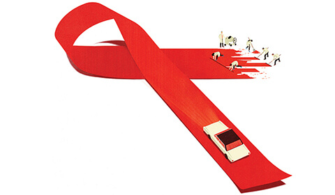 Illustrated H I V awareness ribbon.