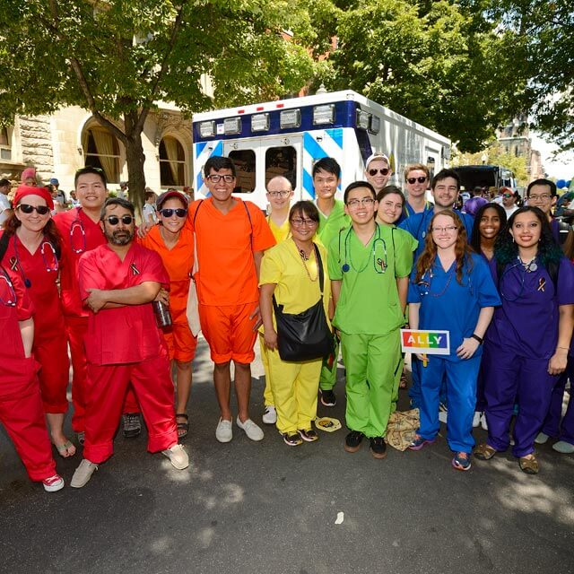 Hopkins employees in rainbos scrubs at Baltimore Pride