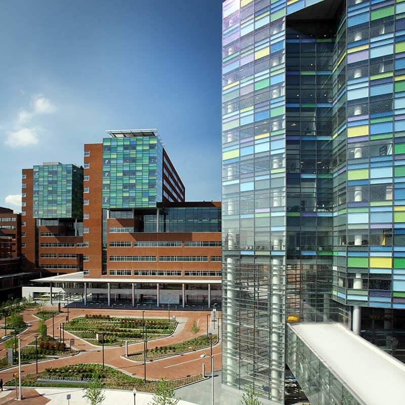 Exterior of The Johns Hopkins Hospital in Baltimore, Md.