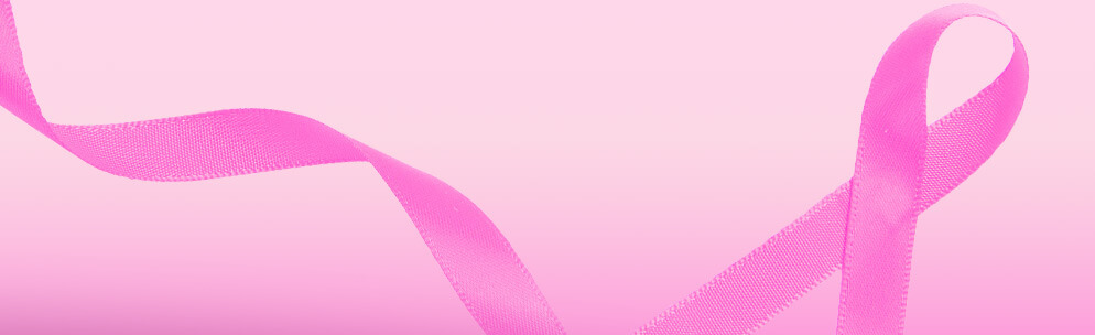Pink breast cancer awareness ribbon.