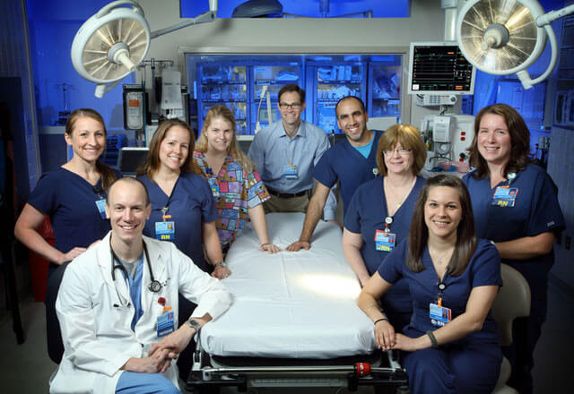 trauma medical team in the operating room