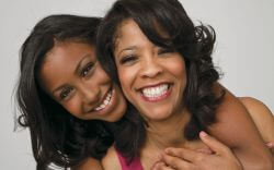 two african american women mother daughter