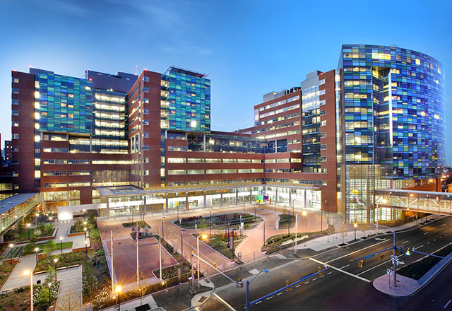 The Johns Hopkins Hospital front entrance at dusk.