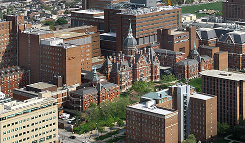 Aerial view of The Johns Hopkins Hospital.