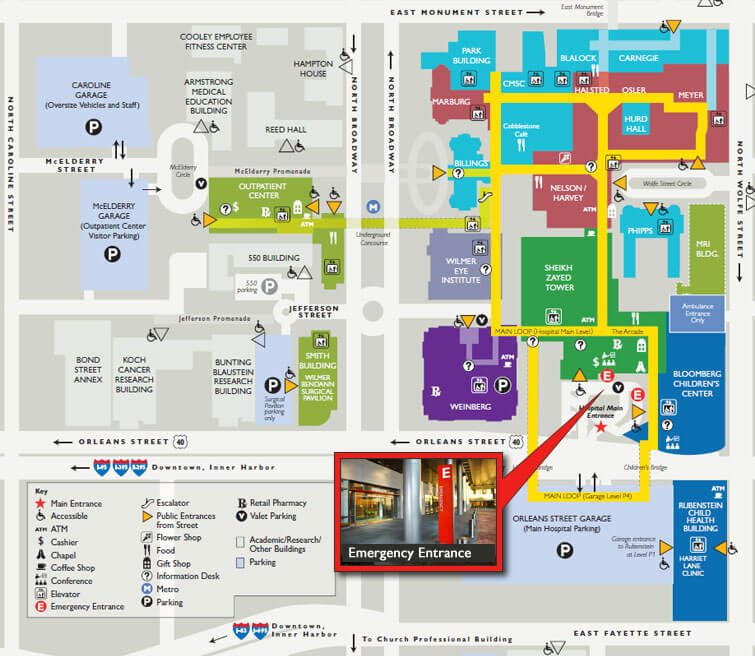 Johns Hopkins Hospital Emergency Entrance map