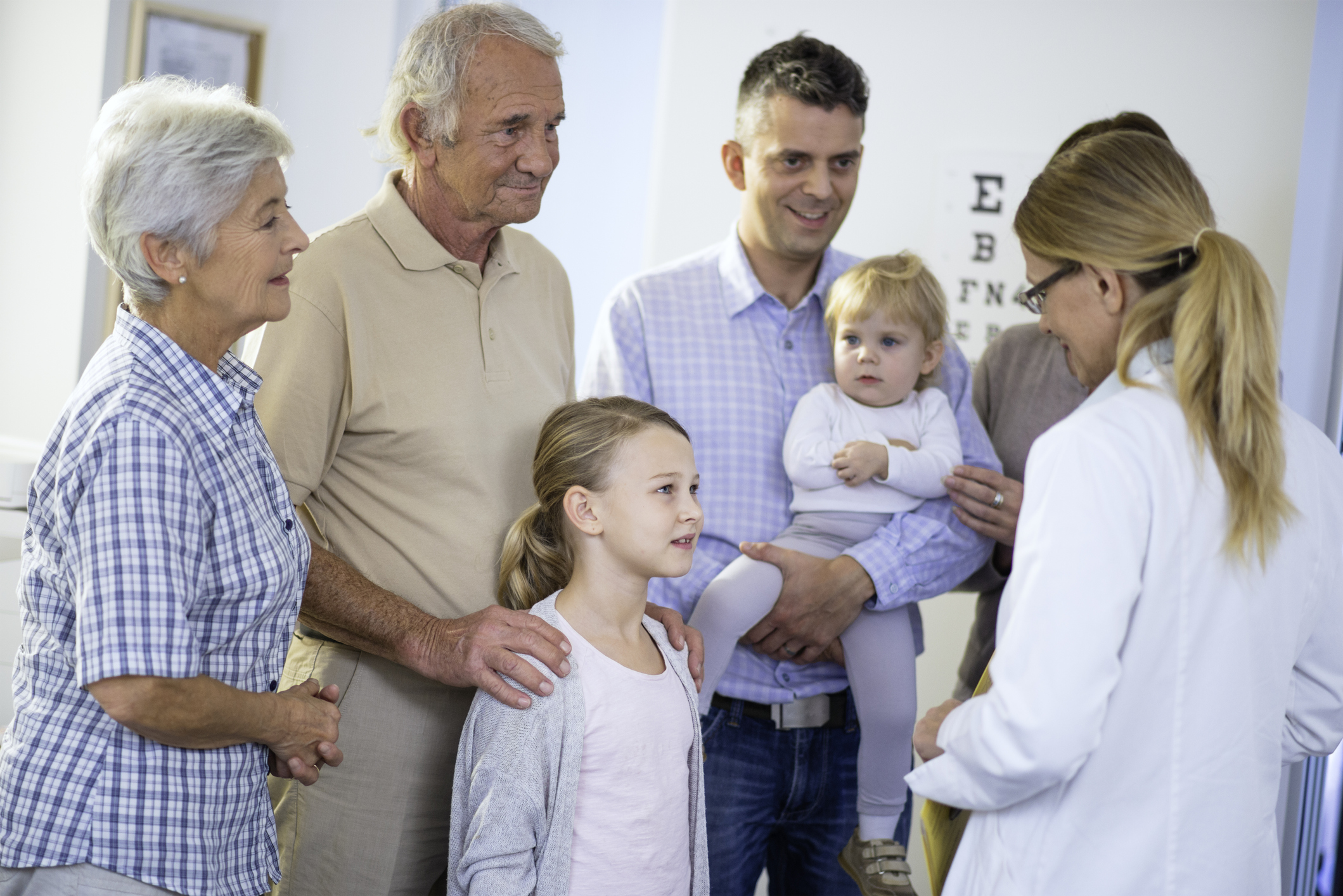 family talking to doctor