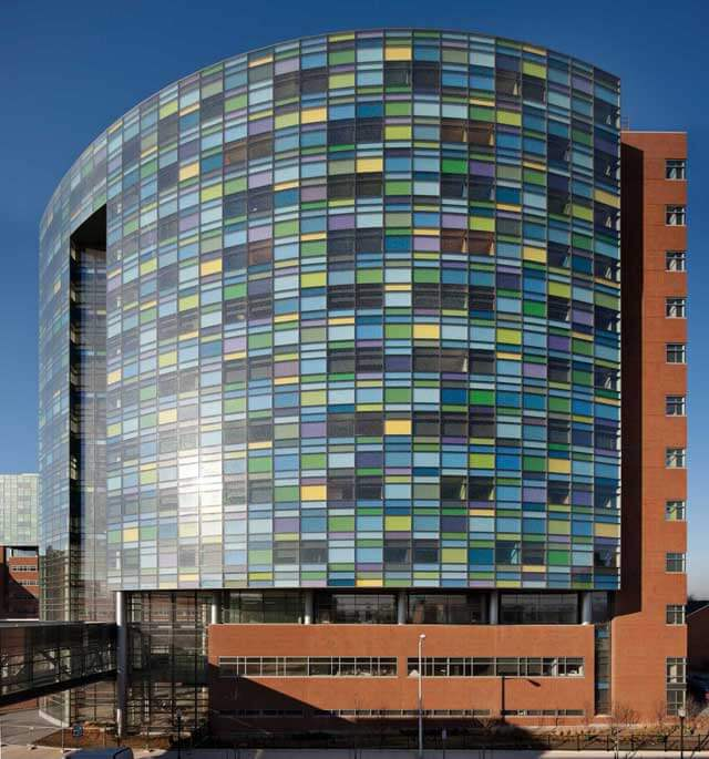 Photo of the multi-colored windows of The Charlotte R. Bloomberg Children's Center.