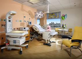 Photo of a Labor and Delivery room.