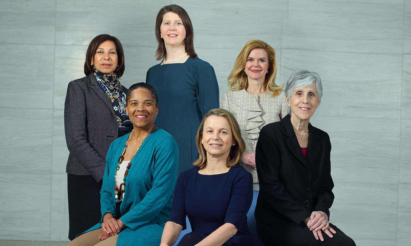 Photo shows women leaders featured on the website, including clockwise from top left: Inez Stewart, Lee Daugherty Biddison, Lisa Ishii, Jacky Schultz, Geraldine Seydoux and Deidra Crews.