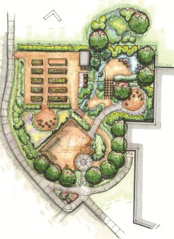 Architectural plan of the a community teaching garden